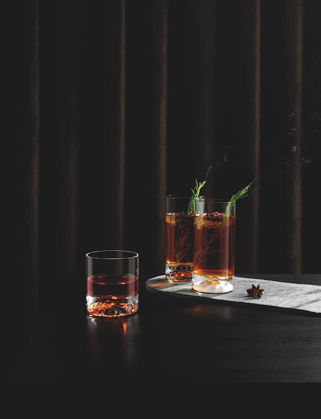 Big Top highball and whisky glasses designed by Youmeus Design