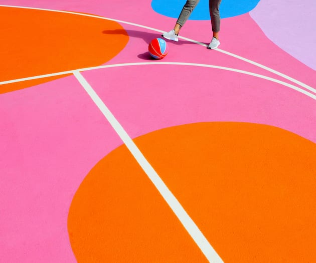 Sports Court painting in Brighton. Photo taken by Colourbloc Photography