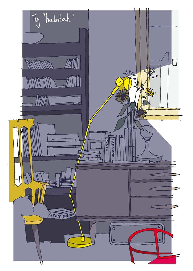 Homeworking illustration by Félicie Krikler, assael architecture