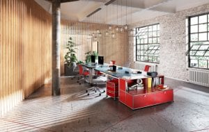 modern office with red furniture